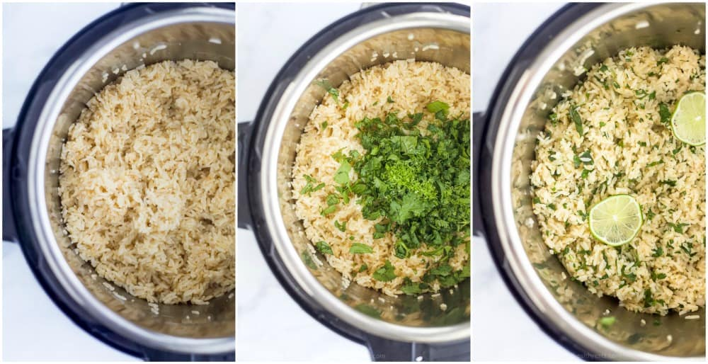 process photos of the best cilantro lime rice in the instant pot