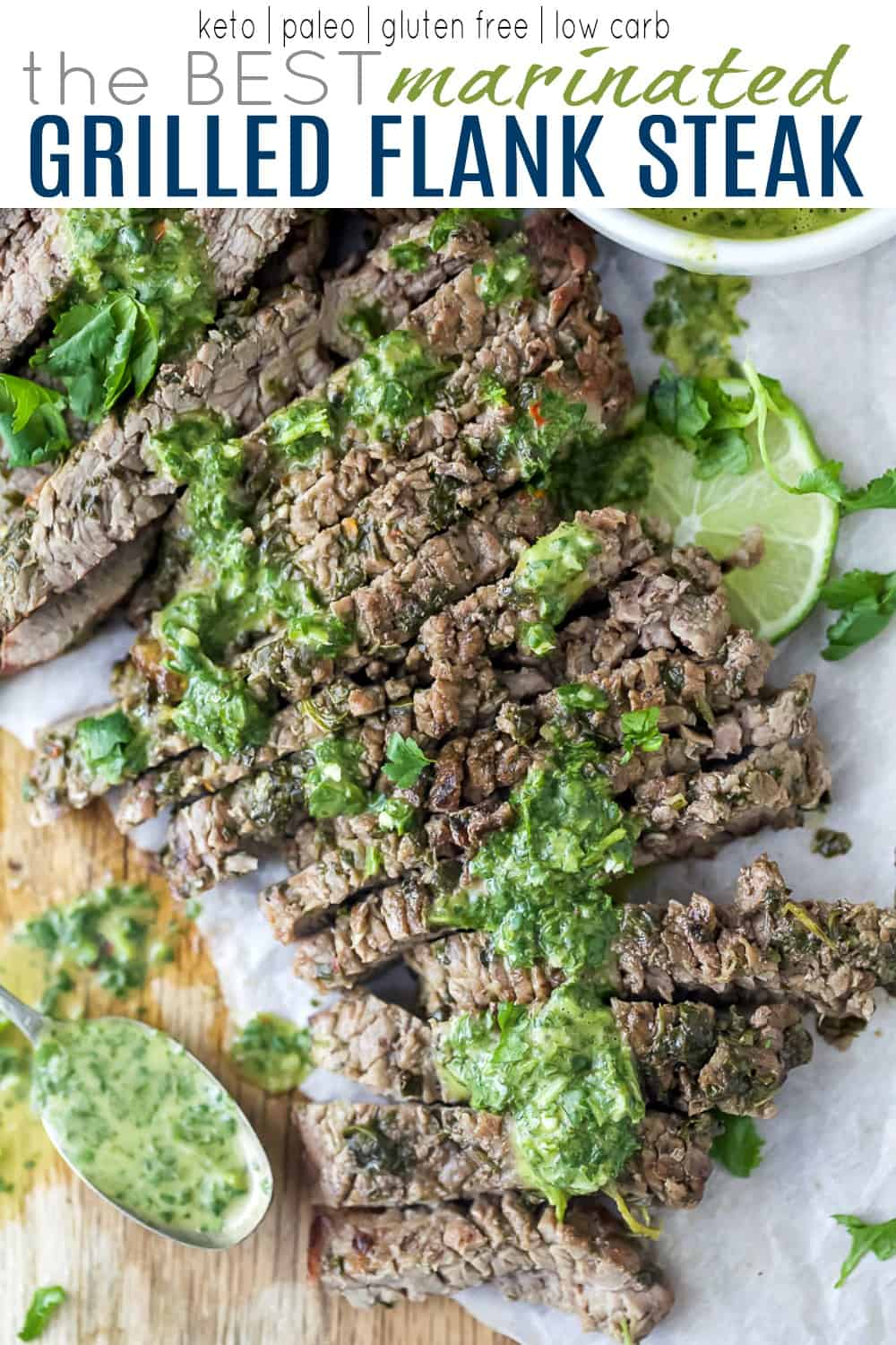 pinterest image for the best marinated grilled steak recipe