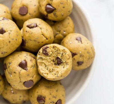 overhead photo of Vegan Cookie Dough Energy Balls