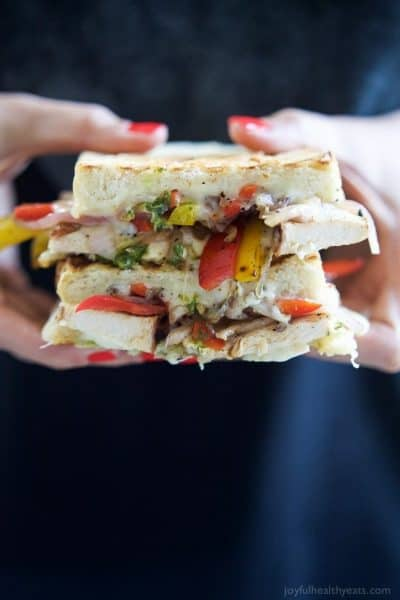 cheesy grilled chicken fajita panini