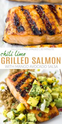 pinterest image for easy chili lime grilled salmon with mango avocado salsa