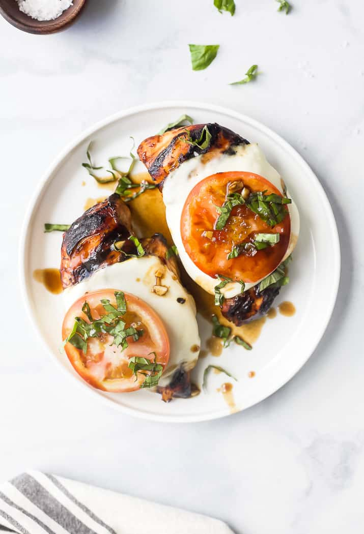 two grilled balsamic caprese chicken