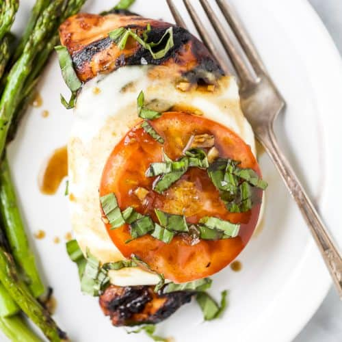 overhead photo of grilled balsamic caprese chicken on a plate