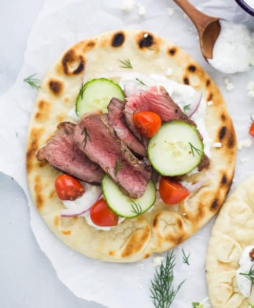 overhead photo of Easy Grilled Steak Gyros with Tzatziki Sauce