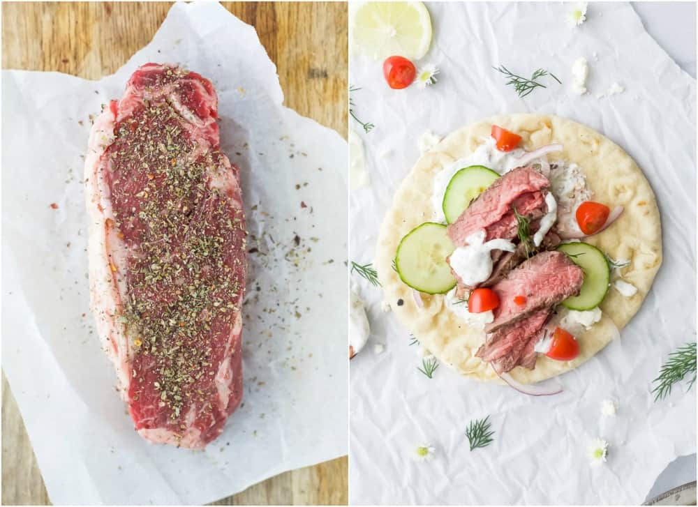 a seasoned new york strip steak and a finished steak gryo with tzatziki sauce