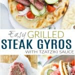 pinterest image for easy grilled steak gyros with tzatziki sauce