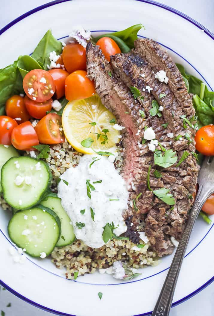 close up photo of easy mediterranean steak and quinoa bowls