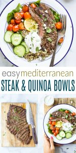 pinterest image for easy mediterranean steak and quinoa bowls