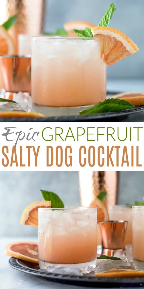 collage with two photos of salty dog drinks in cocktail glasses