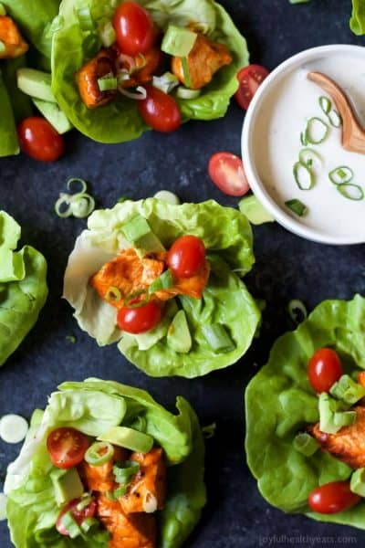 grilled buffalo chicken lettuce wraps