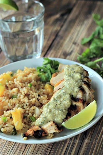 grilled chicken with tomatillo poblano cream sauce