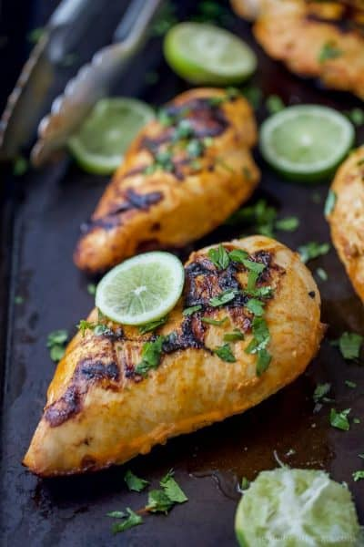 thai curry grilled chicken recipe with a lime on top