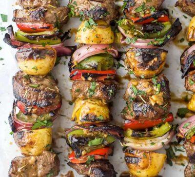 overhead photo of the best marinated steak kabob recipe