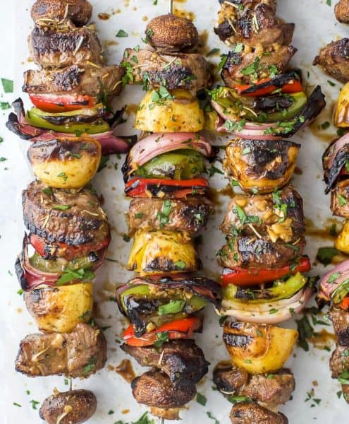 overhead photo of the best marinated steak kabob recipe