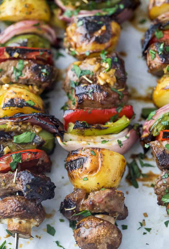 side photo of the best marinated steak kabob recipe