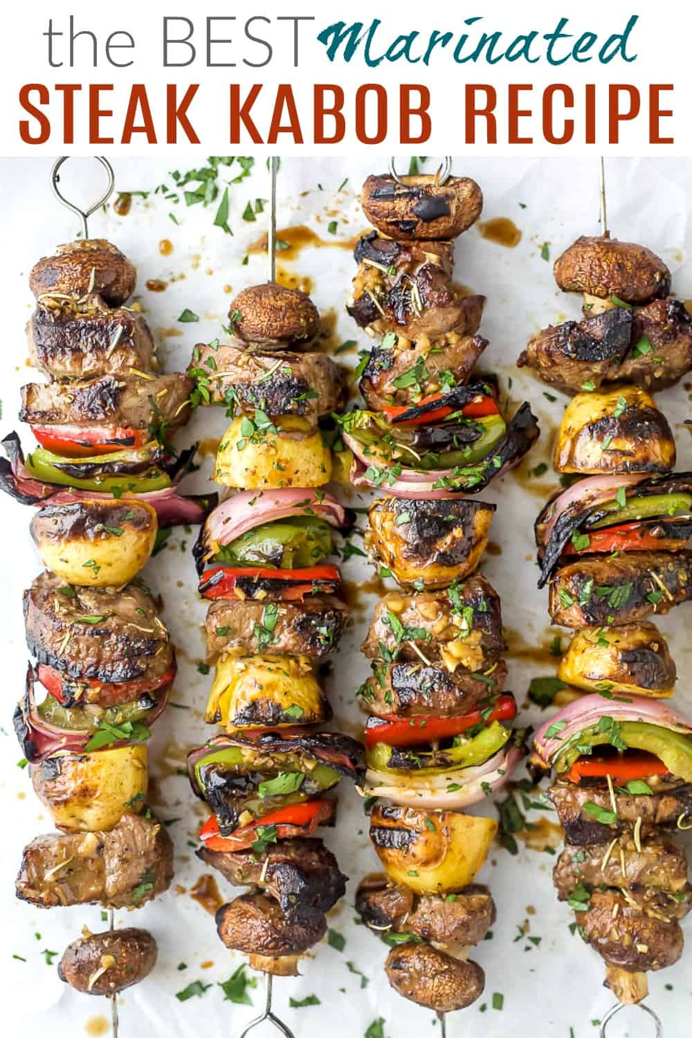 pinterest image for the best marinated steak kabob recipe