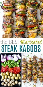 pinterest image for the best marinated steak kabob recipe