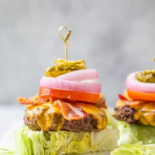perfect keto bacon cheeseburger recipes with ground bison on a lettuce wedge