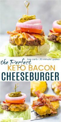 pinterest image for the perfect keto bacon cheeseburger