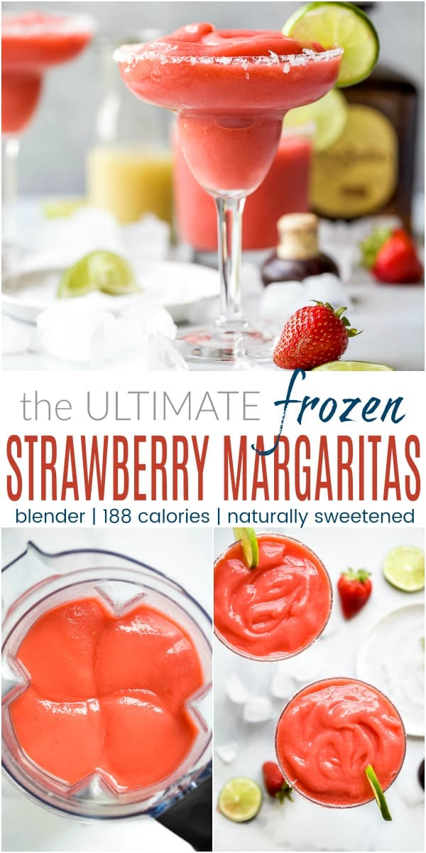 pinterest image for the ultimate blender frozen strawberry margaritas