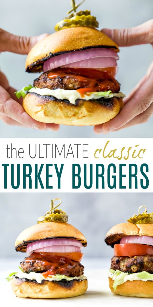 pinterest image for the ultimate classic turkey burger recipe