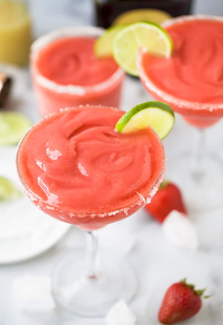 overhead photo of the ultimate blender frozen strawberry margarita recipe