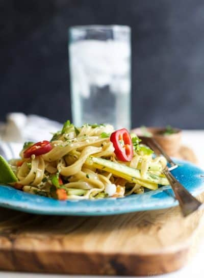 asian noodle salad with sesame vinaigrette