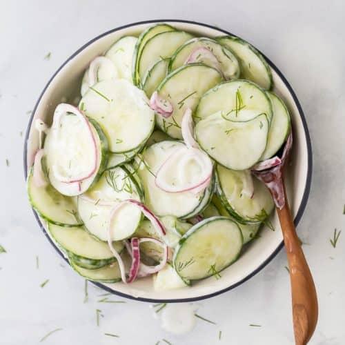 10 minute creamy cucumber salad in a bowl
