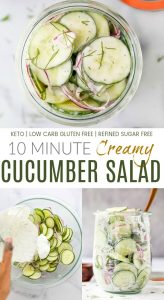 pinterest image for 10 minute creamy cucumber salad