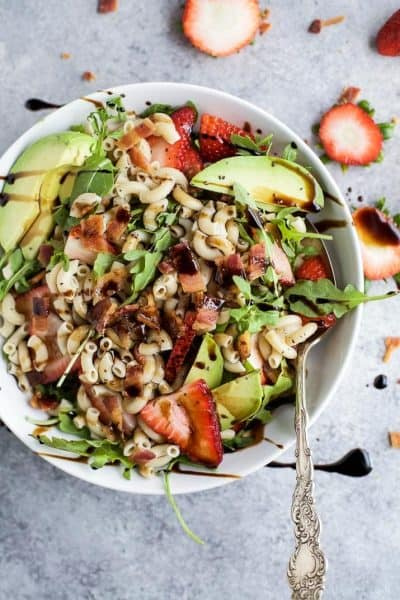 easy strawberry avocado pasta salad