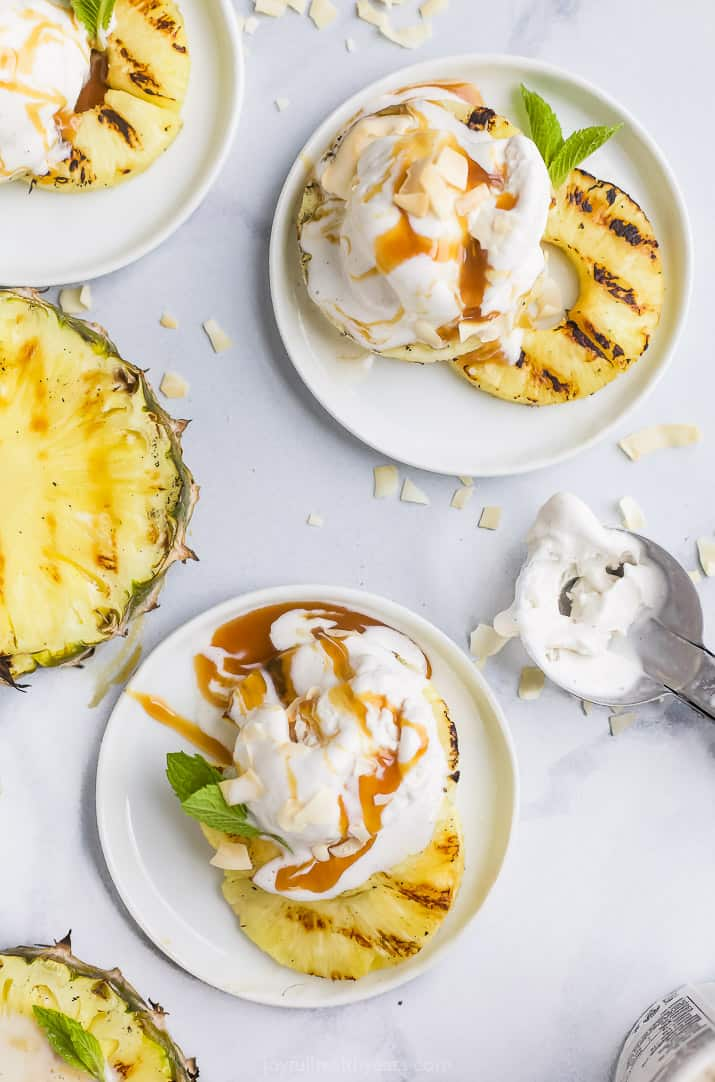overhead photo of easy vegan grilled pineapple with coconut milk ice cream