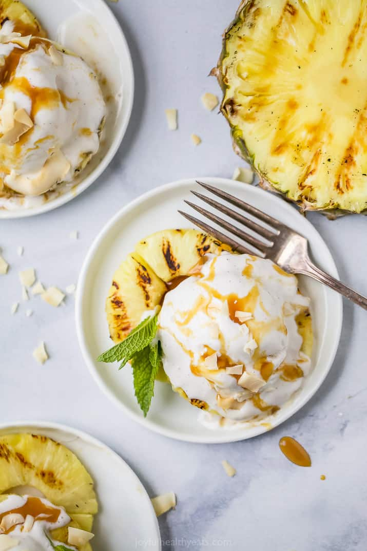 easy vegan grilled pineapple dessert with coconut ice cream on top