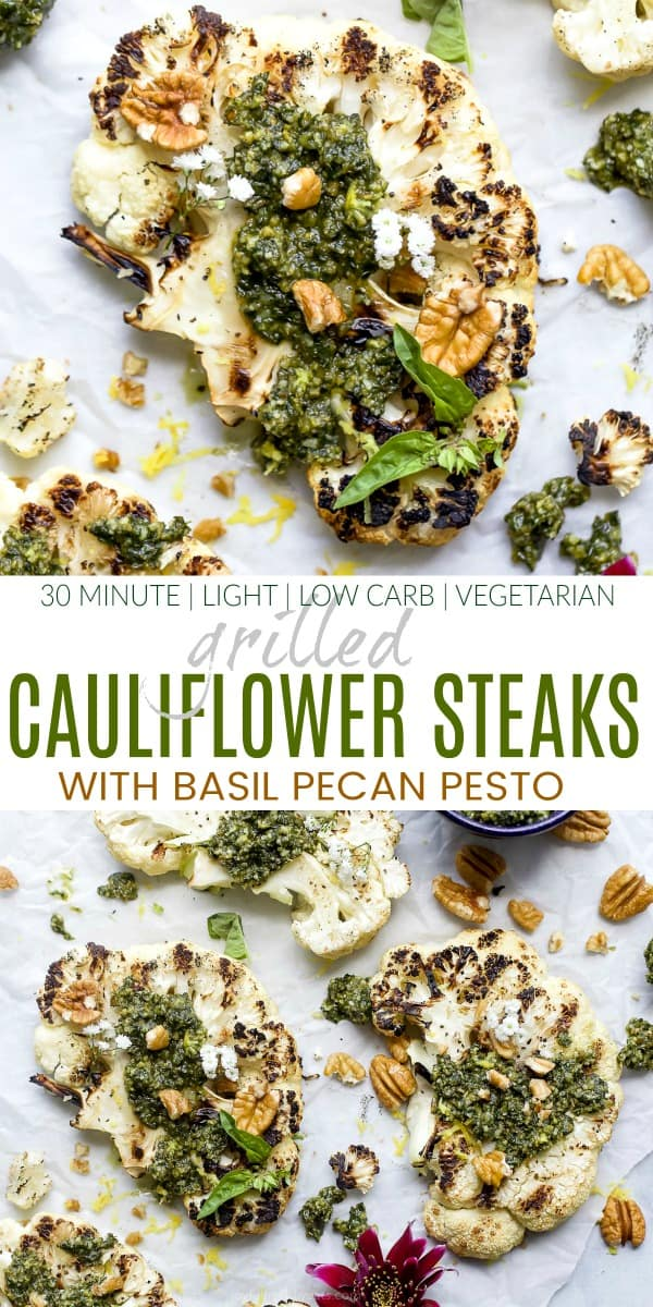 pinterest image for grilled cauliflower steaks with pecan pesto