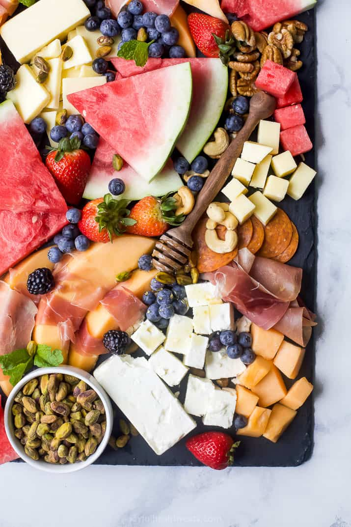 overhead photo of summer cheese board