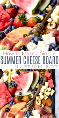 pinterest image for how to make a simple summer cheese board