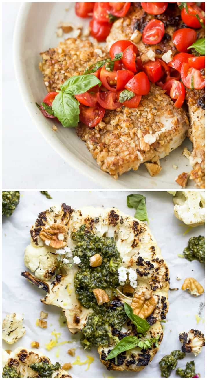 photo of pecan crusted tilapia and grilled cauliflower steaks with pecan pesto