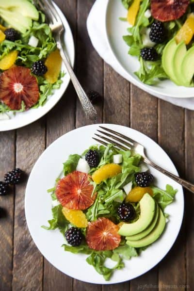 summer citrus avocado salad on a plate