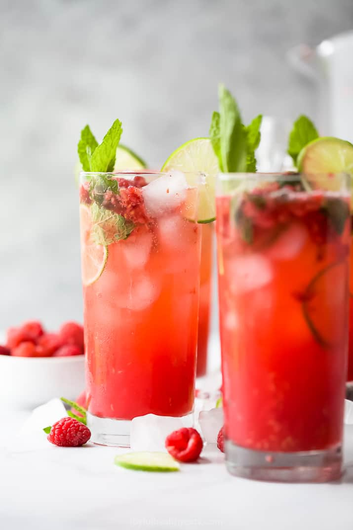 photo of the best fresh raspberry mojito recipe in a glass