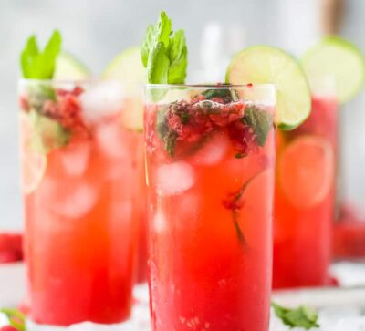 fresh raspberry mojito recipe in a pitcher