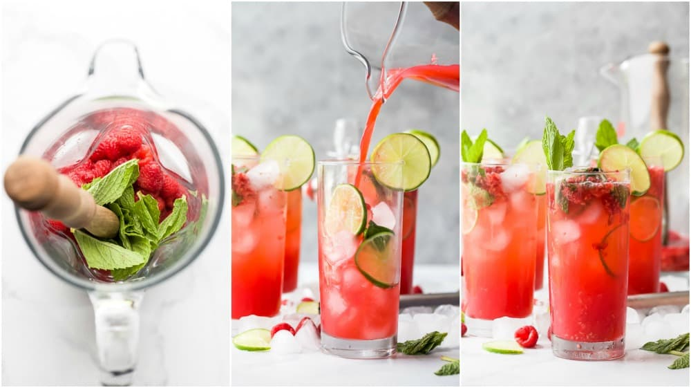 process photos of how to make the best fresh raspberry mojito recipe