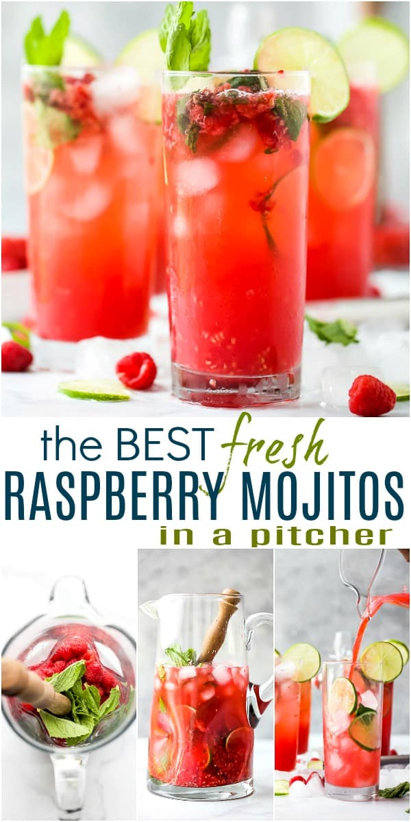 pinterest image for the best fresh raspberry mojito recipe
