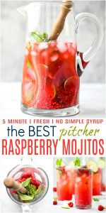 pinterest image for the best fresh raspberry mojito recipe in a pitcher