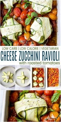 pinterest image for cheese zucchini ravioli in roasted tomato sauce
