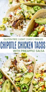 pinterest image for easy chipotle chicken tacos with pineapple salsa