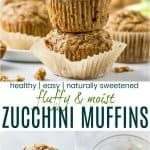 pinterest image for moist healthy zucchini muffins