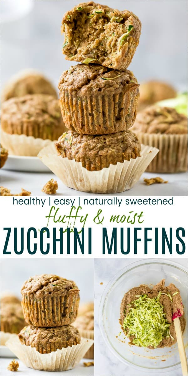 pinterest image for healthy zucchini muffins