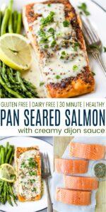 pinterest image for pan seared salmon with creamy dijon sauce