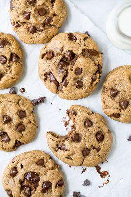 overhead photo of vegan chocolate chip cookies