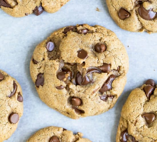 overhead photo of the best vegan chocolate chip cookie dough