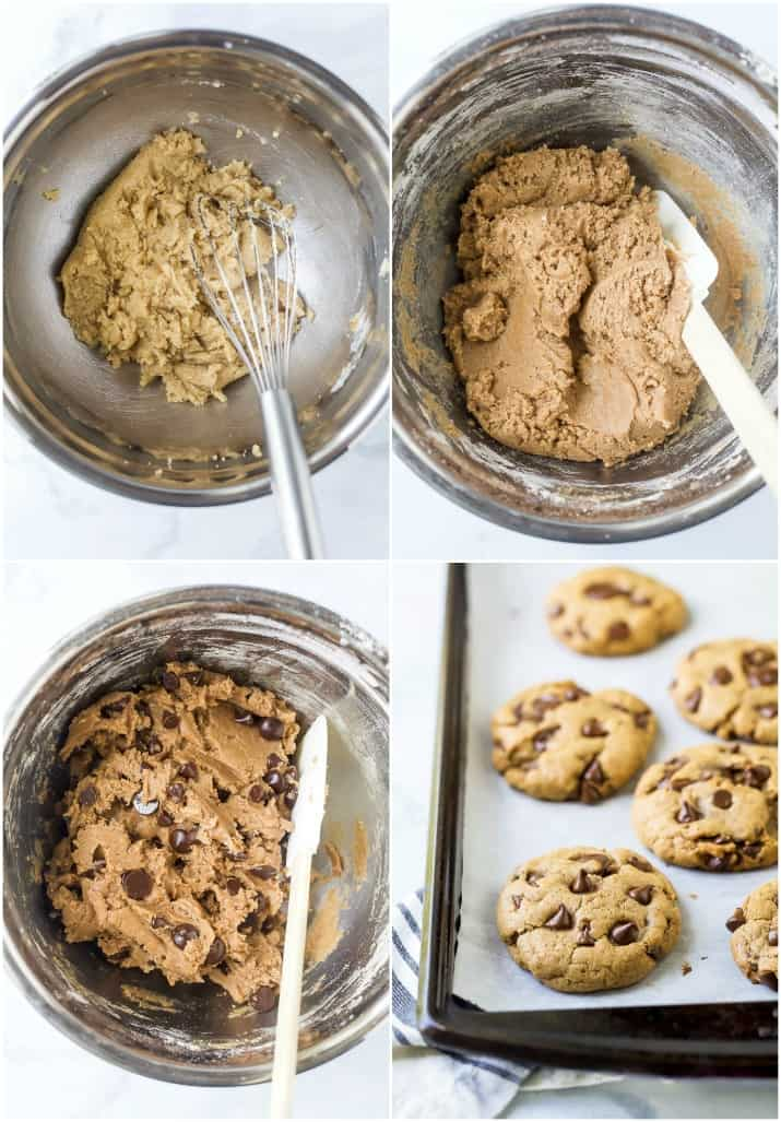 process photos of the best vegan chocolate chip cookies